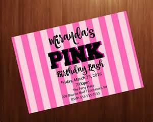 birthday invitation pink secret pink stripes