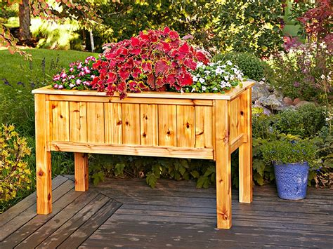elevated planter box plans raised planter box woodworking plan from wood magazine