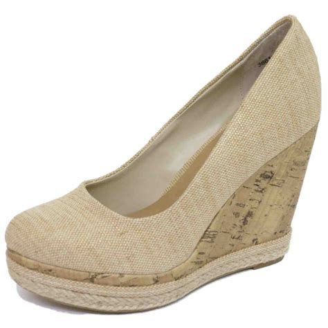 beige shoes beige platform slip on wedges high heel canvas