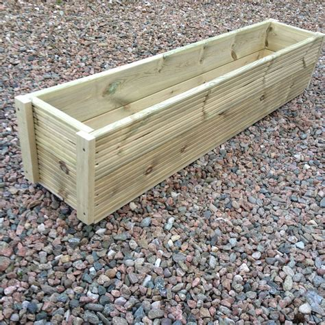 Wooden Garden Planter Boxes by Large 1 Metre Wooden Garden Planter Box Trough Herb