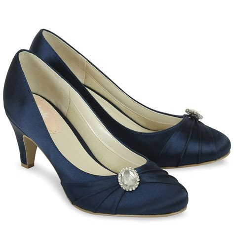 pink paradox harmony navy blue satin shoes wedding shoes