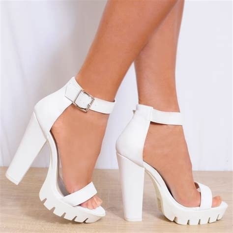 High Heels 2 White Murah white faux leather ankle strappy open toe block high heel