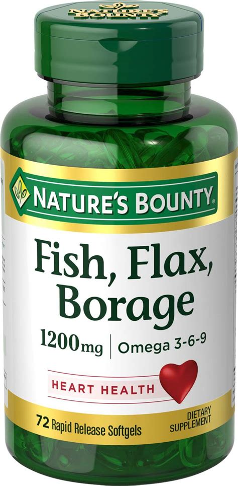 Flaseed Natures Bounty nature s bounty fish flax borage 1200 mg omega 3 6 9 72 softgels health