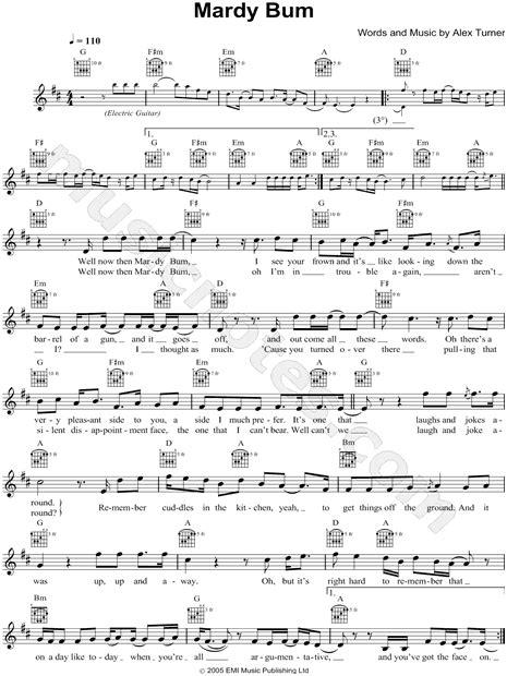 """Arctic Monkeys """"Mardy Bum"""" Sheet Music (Leadsheet) in D"""