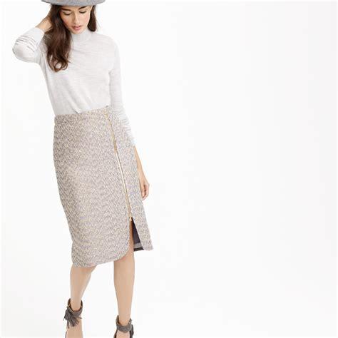 zip front pencil skirt in sparkle tweed