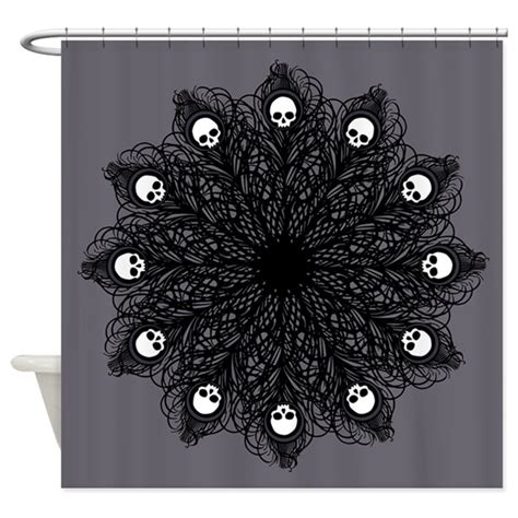 goth shower curtain gothic black peacock feather shower curtain by opheliasart