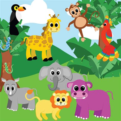 clipart animals jungle animals clipart jungle clip digital clipart