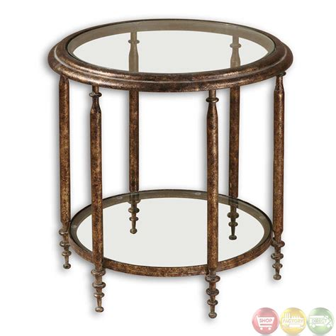 glass accent tables leilani antique gold finish glass top accent table 26011