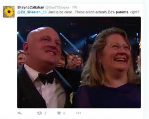 ed sheeran parents grammys 2016 cutaway to ed sheeran s parents showed