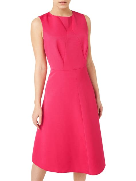 Vneck Mid Flare Dress precis fit and flare dress mid pink neck