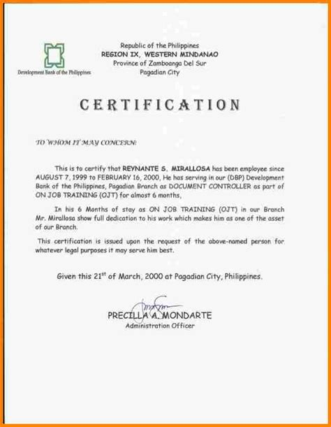 Resume Sle Philippines Ojt Certification Letter Philippines 28 Images Doc 404522 Sle Employment Certification