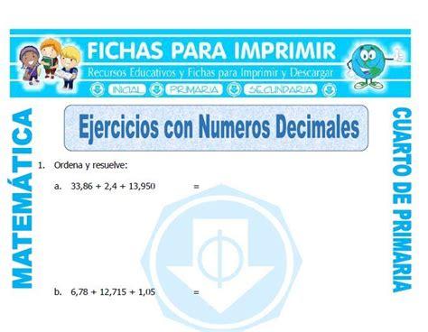 matematicas cuarto de primaria ejercicios ejercicios con numeros decimales para cuarto de primaria