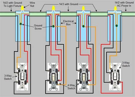 4 way switch with light in middle wiring diagram with