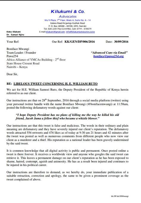 Demand Letter Malicious Prosecution deputy president william ruto threatens to sue boniface
