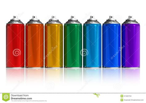 spray paint rainbow set of rainbow paint spray cans stock images image 21422734