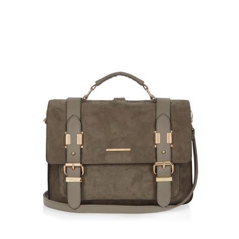 Buckle Suede Mango Sling Bag river island grey large faux suede satchel handbag in gray