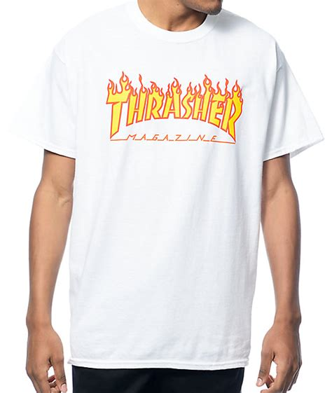 thrasher logo white t shirt at zumiez pdp