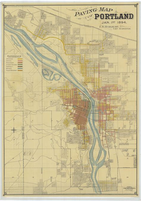 paving map of portland january 1 1894 vintage portland