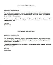 Parent Letter From Coach 11 Sle Coach Thank You Letters