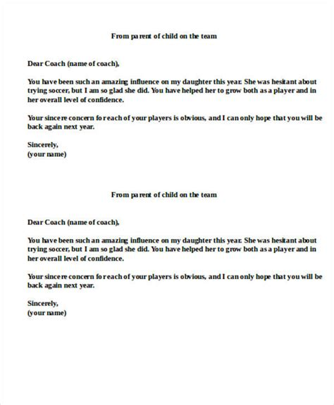 thank you letter to parents 11 sle coach thank you letters