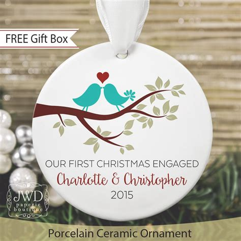 first christmas ornament personalized engagement gift love