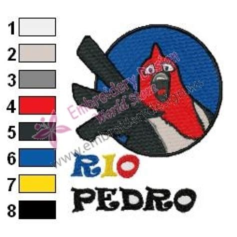 Pedro Embroidered pedro angry birds embroidery design 02
