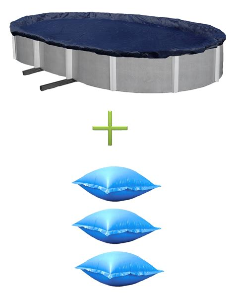 what size air pillow for above ground pool swimline 18x34 silver black oval above ground pool cover