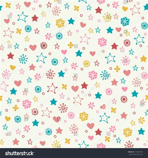 cute pattern texture seamless doodle pattern colorful flowers stars stock