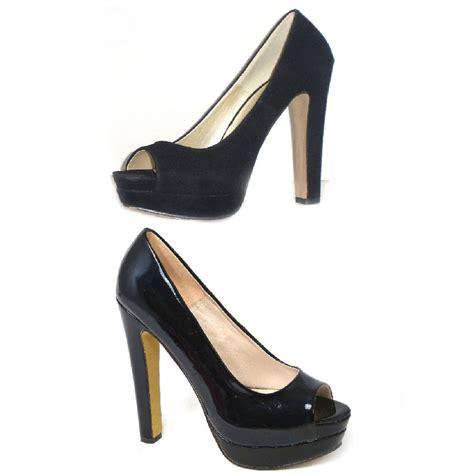 High Heels Import Black womens peep toe high heel black casual office work school pumps shoes ebay
