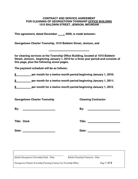 Contract Letter Format For Housekeeping Cleaning Contract Agreement Free Printable Documents