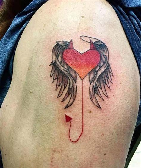 angel tattoo we heart it şeytan melek kalp d 246 vmesi devil angel heart tattoo kalp