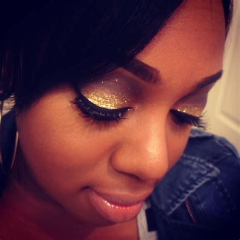 eyeshadow tutorial black girl eyeshadow tutorial gold glittery smokey eye youtube