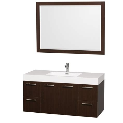 wall mount vanities for bathrooms amare 48 quot wall mounted espresso bathroom vanity set with