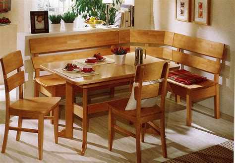Small Breakfast Nook Table With Banquette Seating And