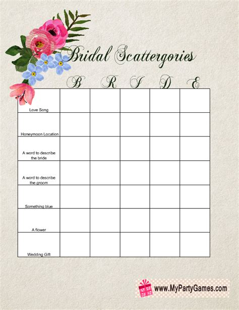 Bridal Scattergories Template