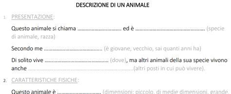 testo descrittivo su un animale verifica sul testo descrittivo per bes il di