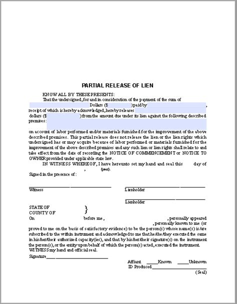 lien waiver template partial release of lien certificate template free