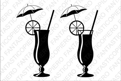 tropical cocktail silhouette cocktail svg files for silhouette cameo design bundles