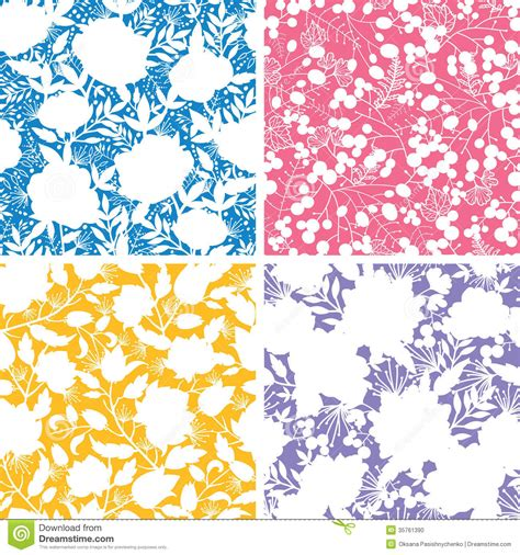 flowers seamless pattern element vector background set of four floral silhouettes seamless patterns stock