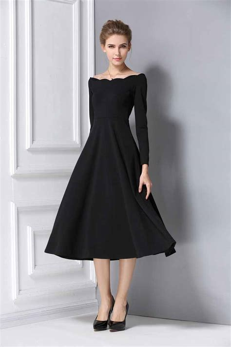 Dress Hitam dress hitam lengan panjang korea myrosefashion
