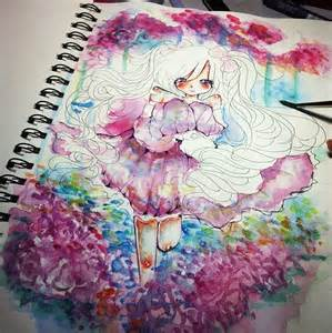 water color drawings watercolor anime coloring by nikonguyen on