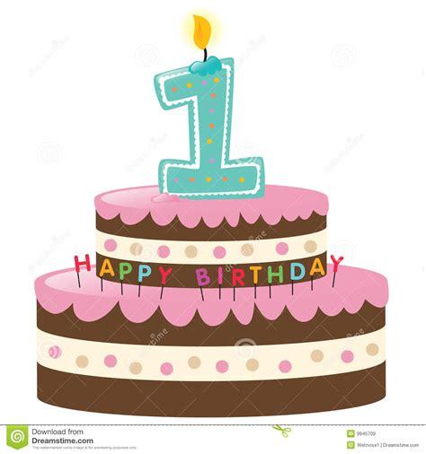 Gl 252 Cklicher Erster Geburtstag Kuchen Lizenzfreie