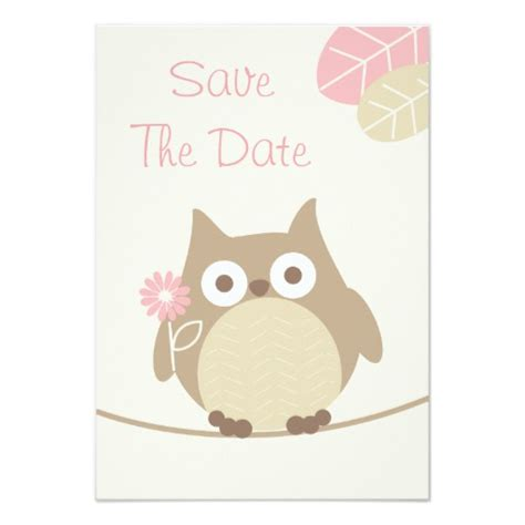 Save The Date Templates For Baby Shower | girl owl baby shower save the date custom invites zazzle