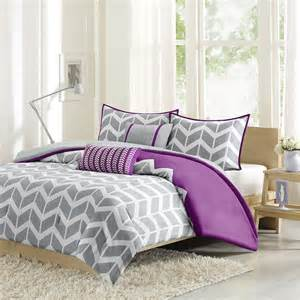 Grey And Purple Bedding Sets Sporty Chic Purple Grey Plum White Chevron Stripe Comforter Set Ebay