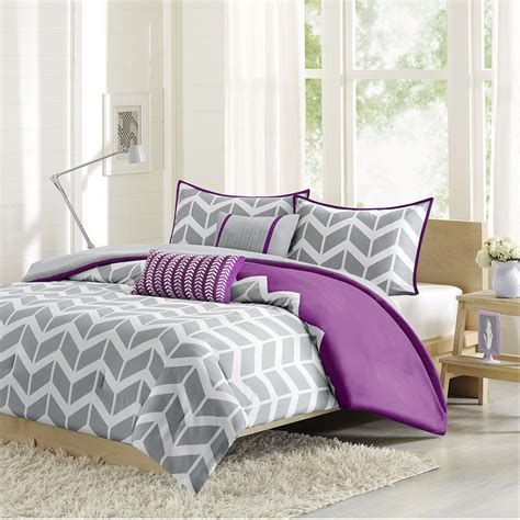 purple teen bedding sporty chic purple grey plum white chevron stripe teen