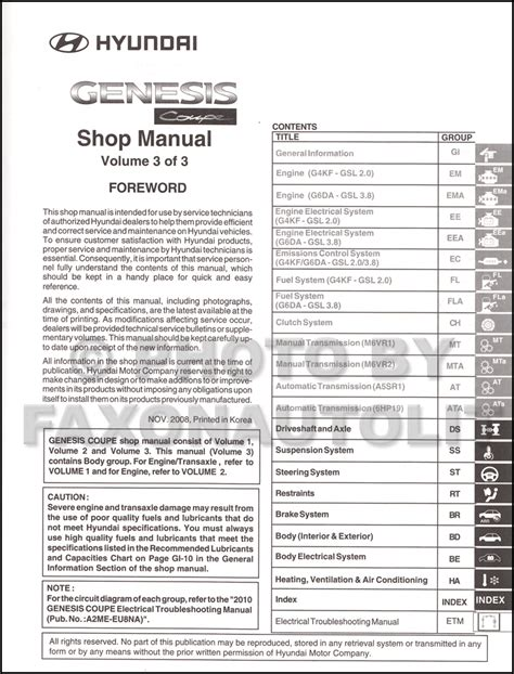 car repair manuals online free 2011 hyundai genesis parking system service manual 2010 hyundai genesis coupe workshop manual download free service manual free
