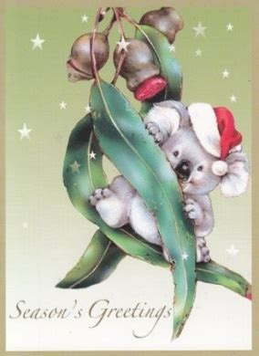 in australia christmas falls in which seasen greeting card australian quot season s greetings quot koala on gum leaves by greeting cards