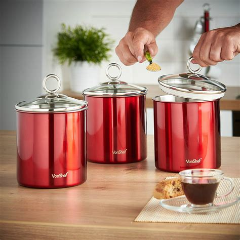 red canister set 3 piece kitchen storage jars stainless