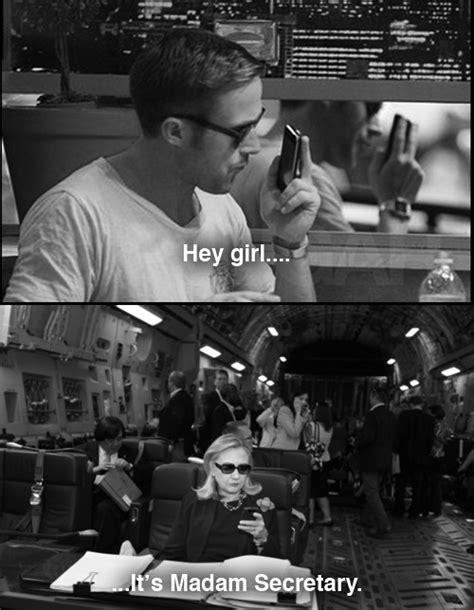Hillary Clinton Texting Meme - hillary clinton hearts ryan gosling text meme too lolz