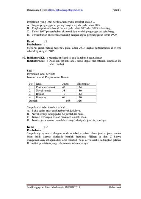 Buku Ujian Nasional Un Smp Mts Tahun 2016 soal bahasa indonesia un smp tahun ajaran 2013 soal